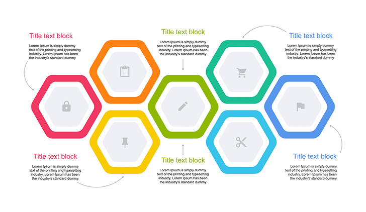 hexagon timeline 5 step for ppt free download now