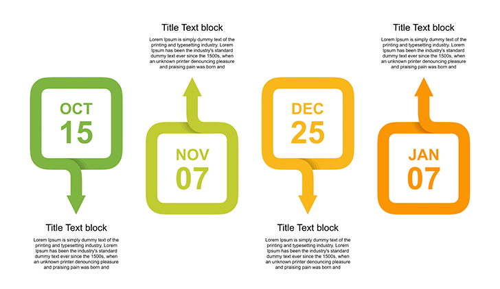 Free timeline template powerpoint download now the free timeline template powerpoint is one unique slide with a creative modern design four calendar sheets with text blocks for description represents toneelgroepblik Choice Image