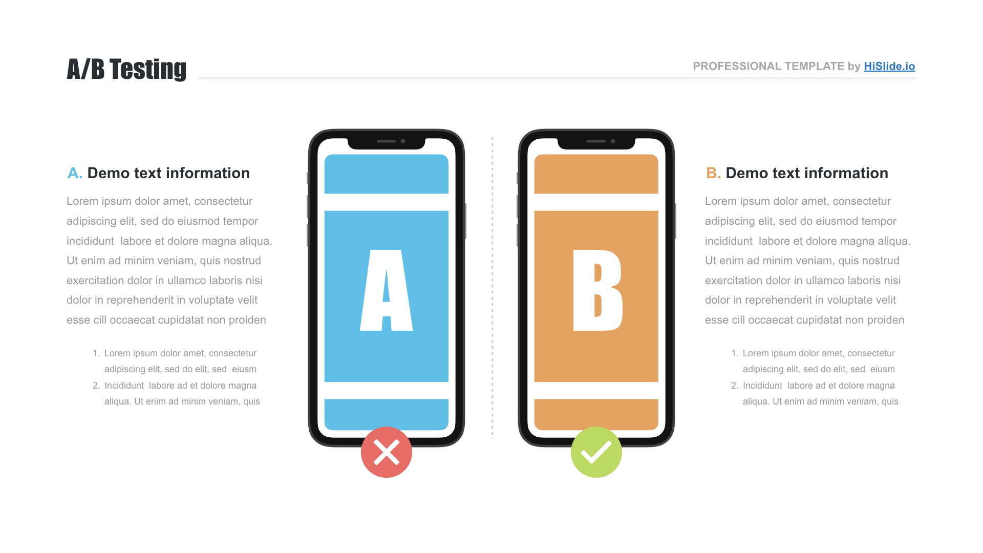 AB test plan template PowerPoint