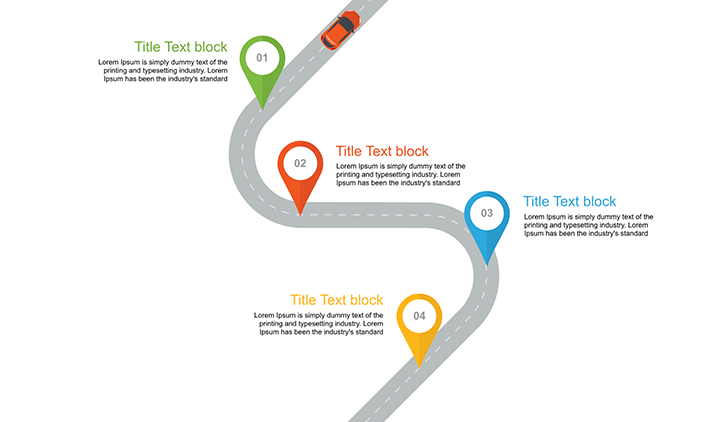 the roadmap template free download is one unique slide on which you can see the road with five multicolored spots and text lines