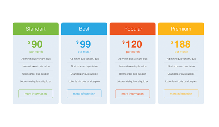 pricing tables keynote template 2