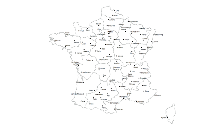 France provinces geographic heat map generator excel template.