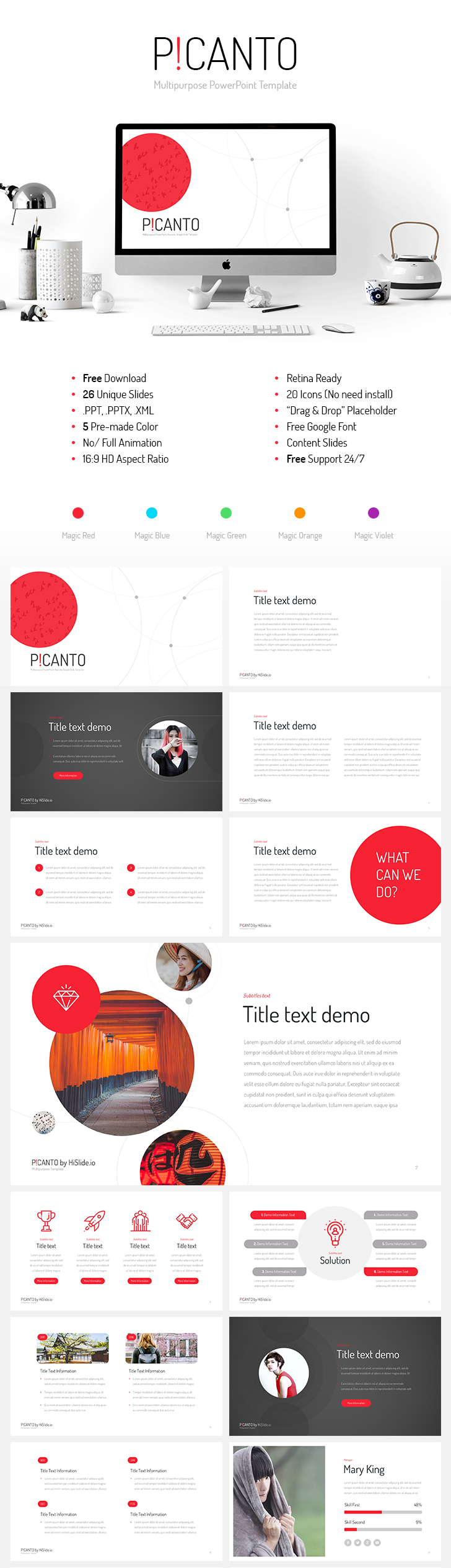 picanto ppt template free download total 130 slides