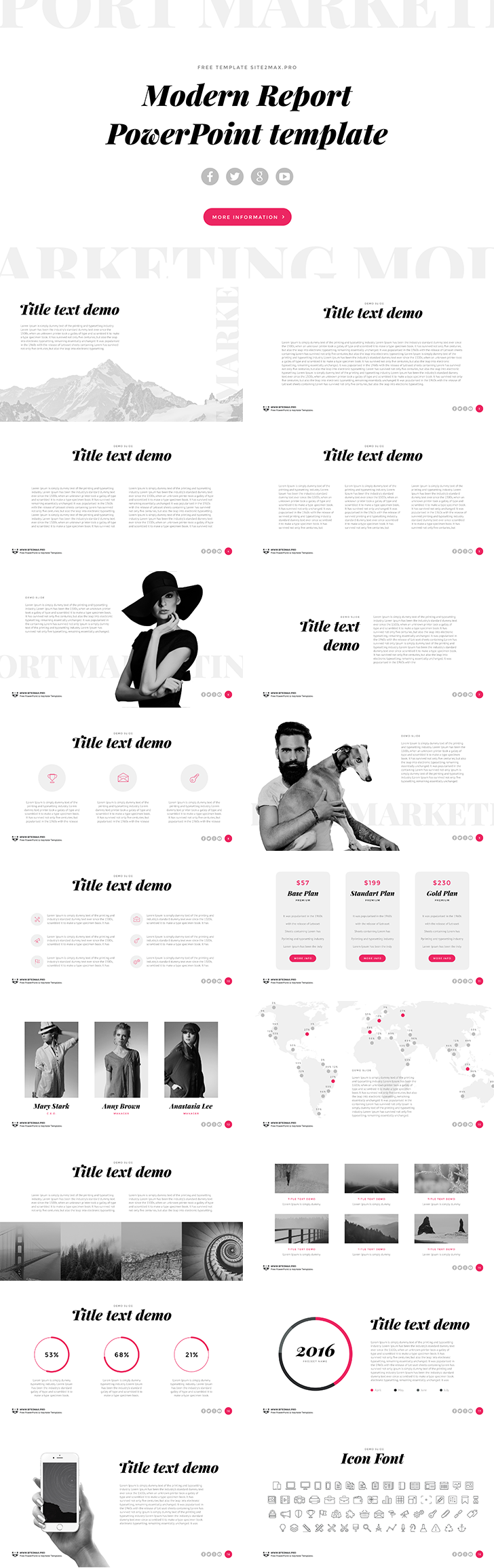 "modern report"" free ppt template - download free!, Presentation templates"
